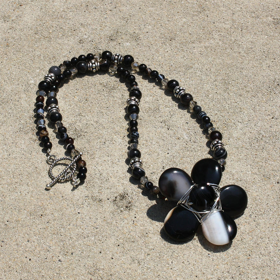 Necklace Jewelry - Black Banded Onyx Wire Wrapped Flower Pendant Necklace 3634 by Teresa Mucha