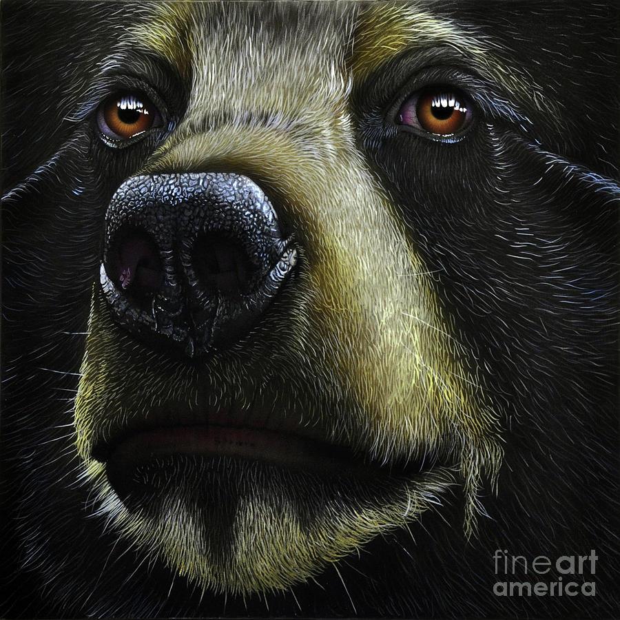 Black Bear Painting By Jurek Zamoyski