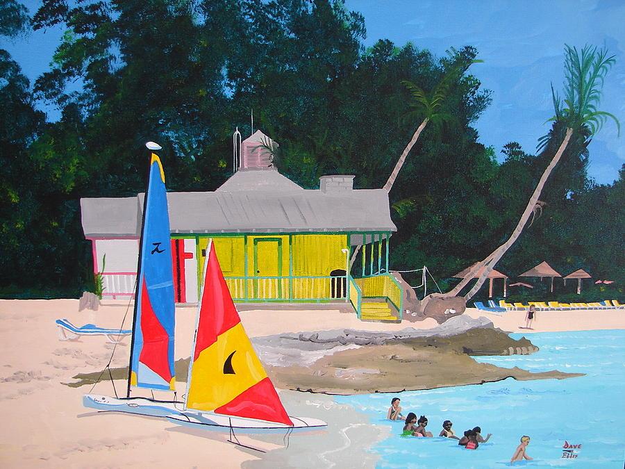Tropical Beach Painting - Black Beards Beach by David Ellis