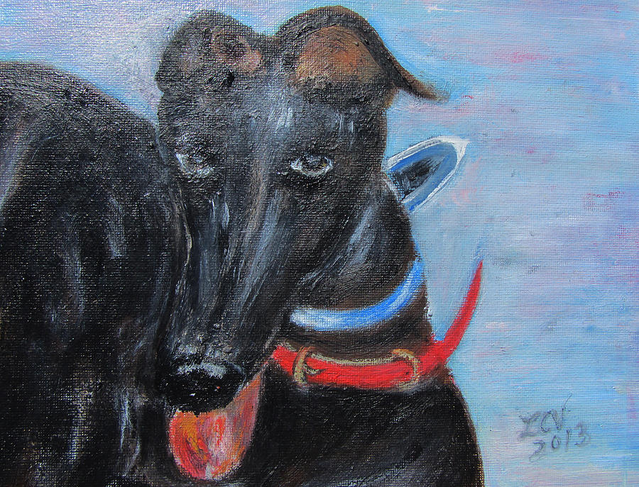 Black Greyhound Painting - Black Beauty by Lucille  Valentino