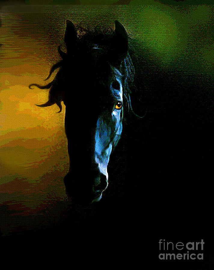 Horse Painting - Black Beauty by Robert Foster