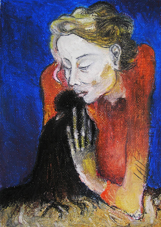 Portrait Paintings Painting - Black Bird After Picasso. by Alicja Coe