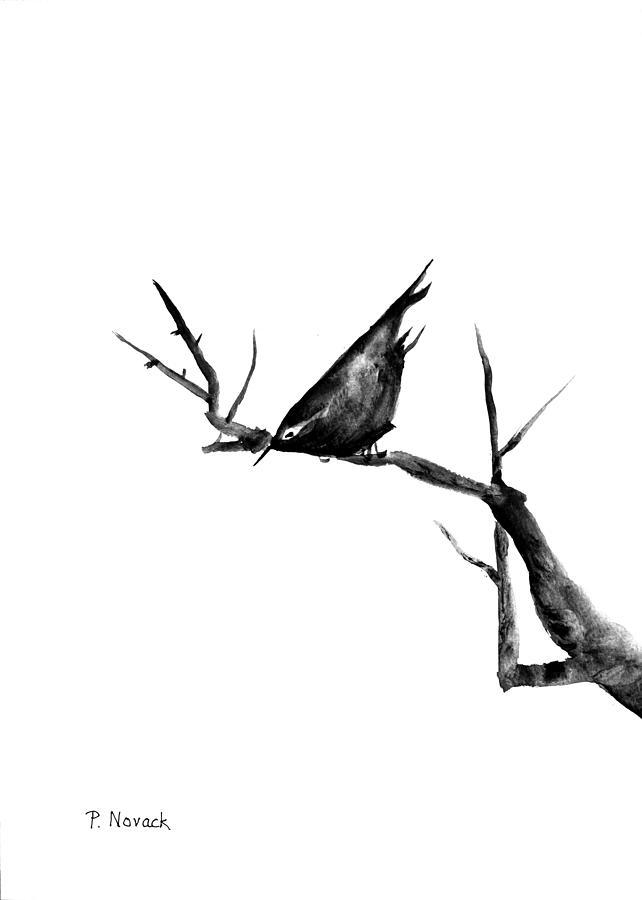 Bird Painting - Black Bird On A Branch by Patricia Novack