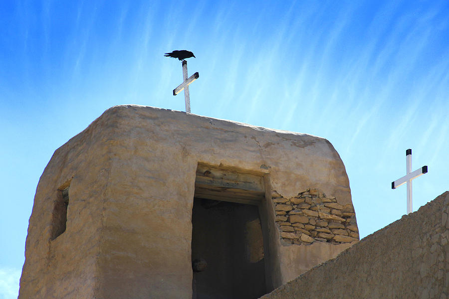 Acoma Pueblo Photograph - Black Bird On Duty by Mike McGlothlen