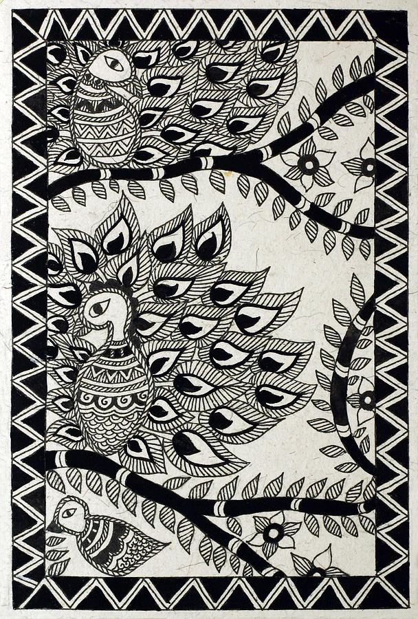 madhubani paintings in black and white  Black Birds Drawing by Neha Dasgupta