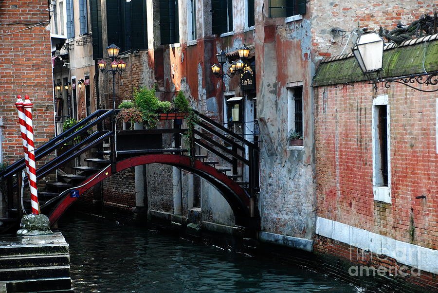 Venice Photograph - Black Bridge by Jacqueline M Lewis