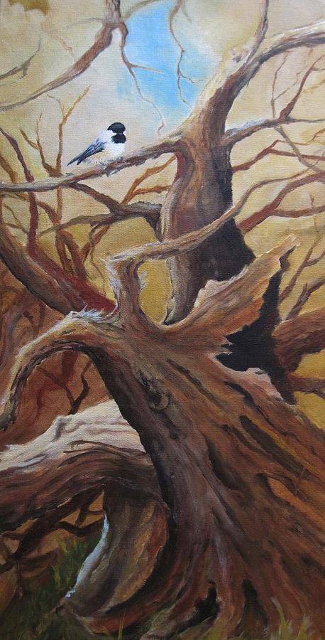 Nature Painting - Black Cap Chickadee by Paula Marsh