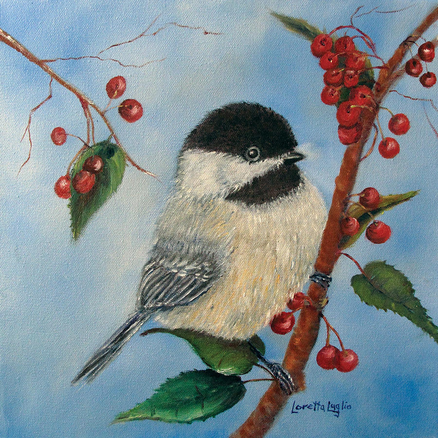 Chickadee Painting - Black Capped Chickadee And Winterberries by Loretta Luglio
