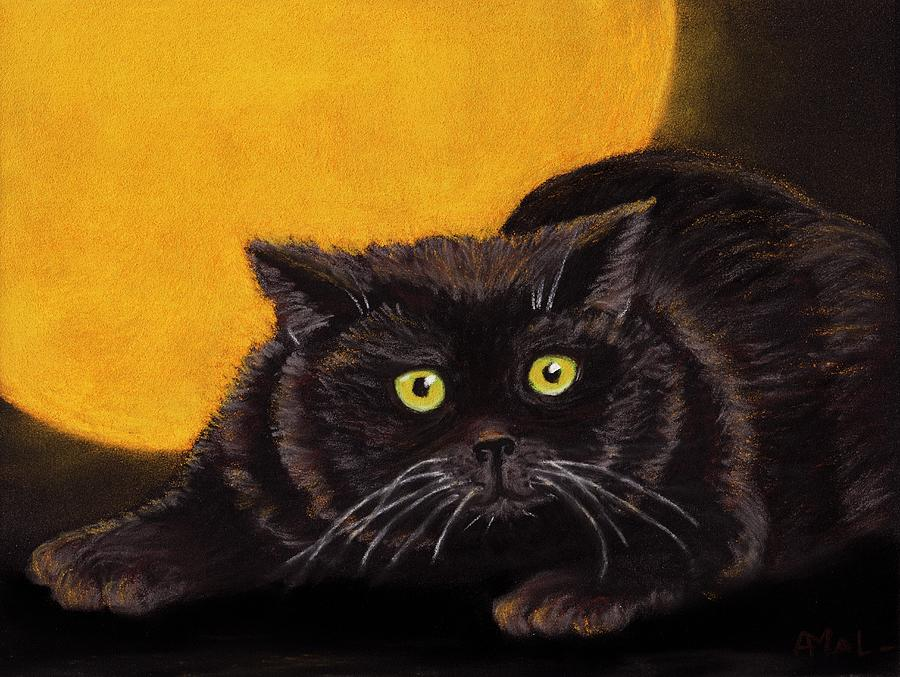 Black Painting - Black Cat by Anastasiya Malakhova