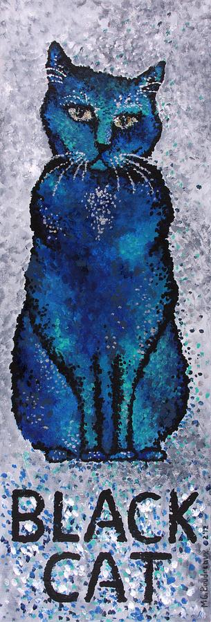 Cat Painting - Black Cat Blue by Michelle Boudreaux