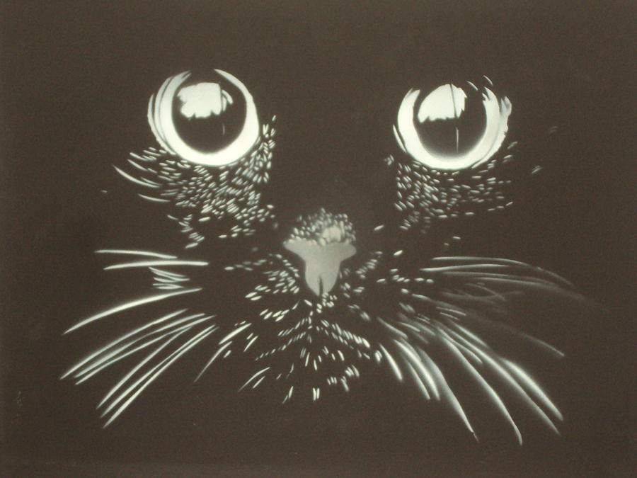 Black Cat Painting by Christopher Golding