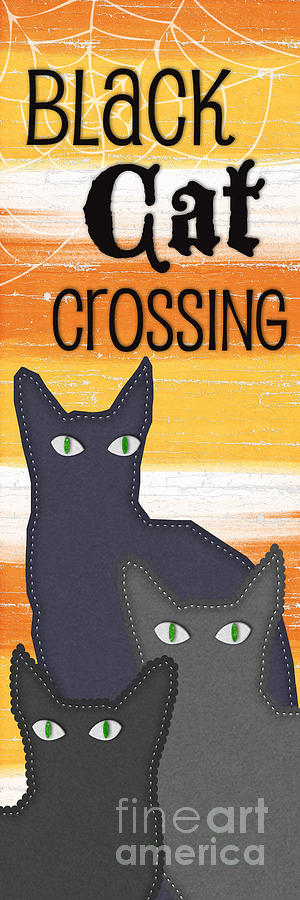 Cat Painting - Black Cat Crossing by Linda Woods