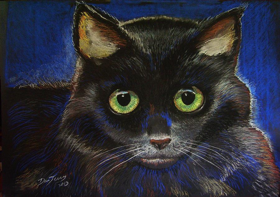 Cat Painting - Black Cat by Dan Terry