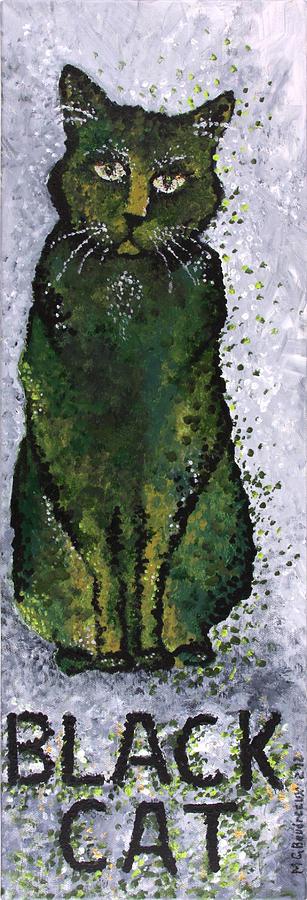 Cat Painting - Black Cat Green by Michelle Boudreaux