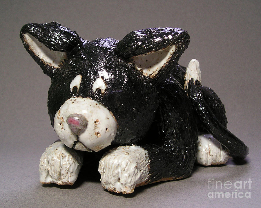 Clay Sculpture - Black Cat by Jeanette K