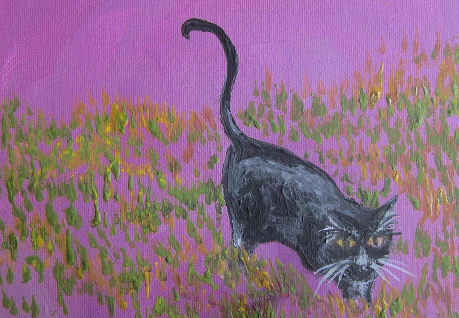 Black Cat Painting - Black Cat On Purple by Cherie Sexsmith