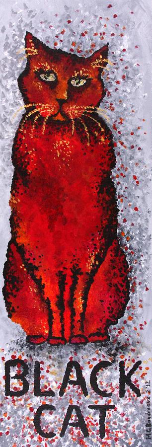 Cat Painting - Black Cat Red by Michelle Boudreaux