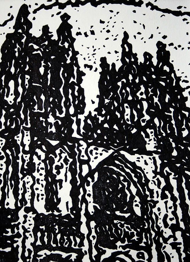 Cityscapes Painting - Black Cathedral  by Oscar Penalber