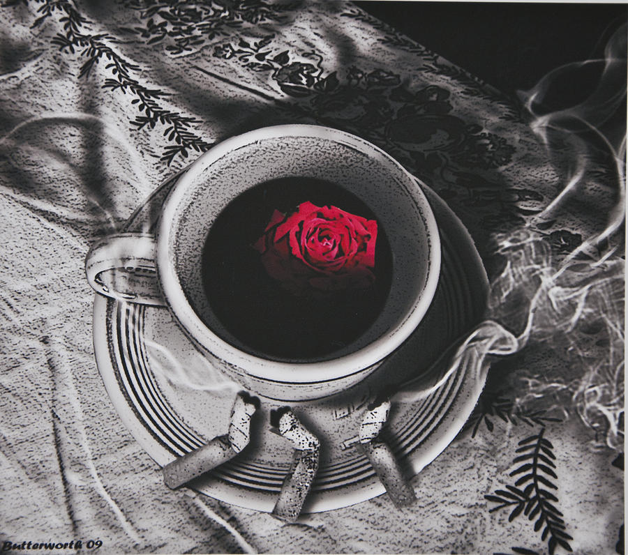 Surrealism Photograph - Black Coffee And Roses by Larry Butterworth