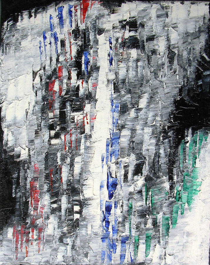 Color Painting - Black Crystal Cave - Black White Abstract By Chakramoon by Belinda Capol