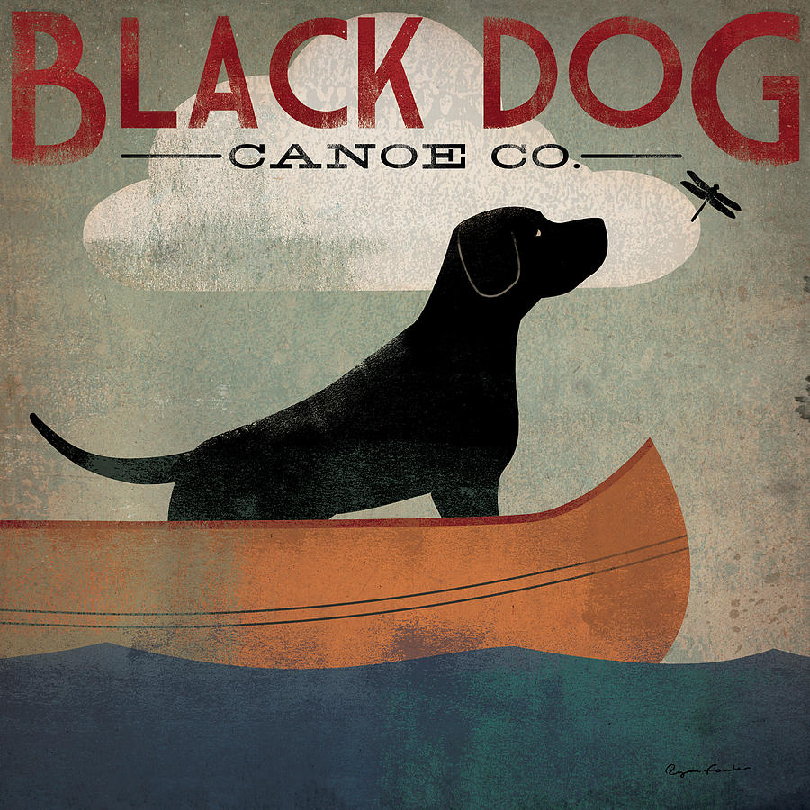 Animal Painting - Black Dog Canoe by Ryan Fowler