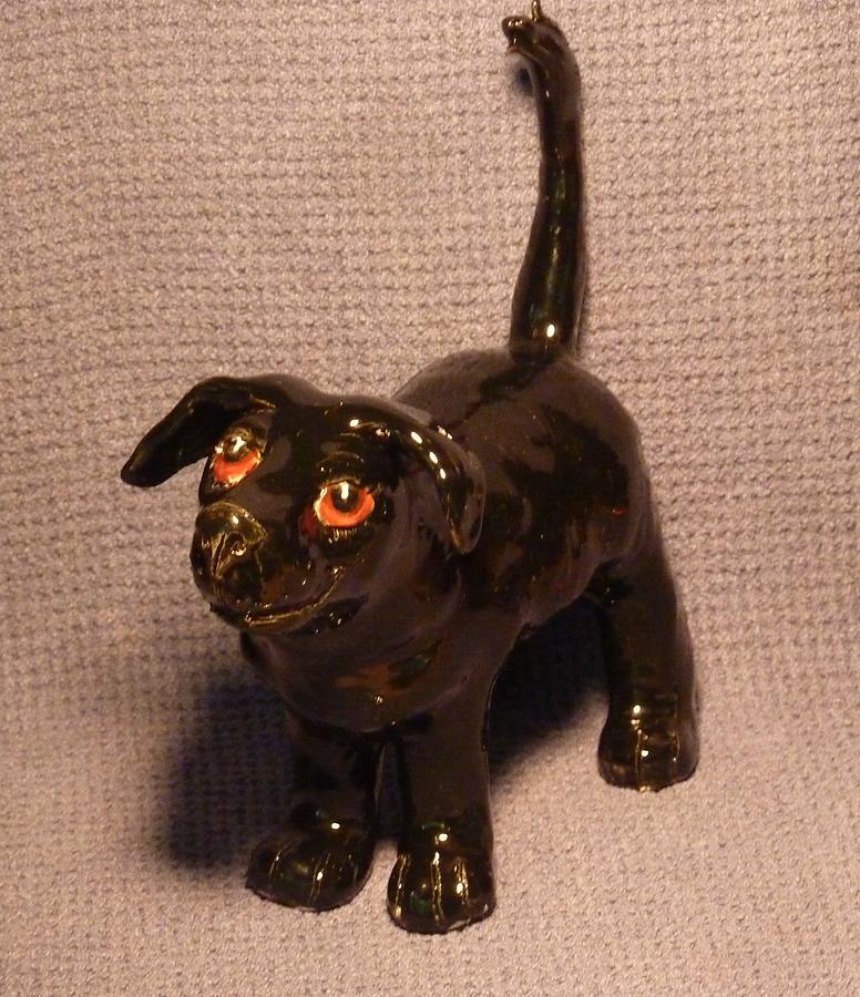Black Dog Sculpture - Black Dog  by Debbie Limoli