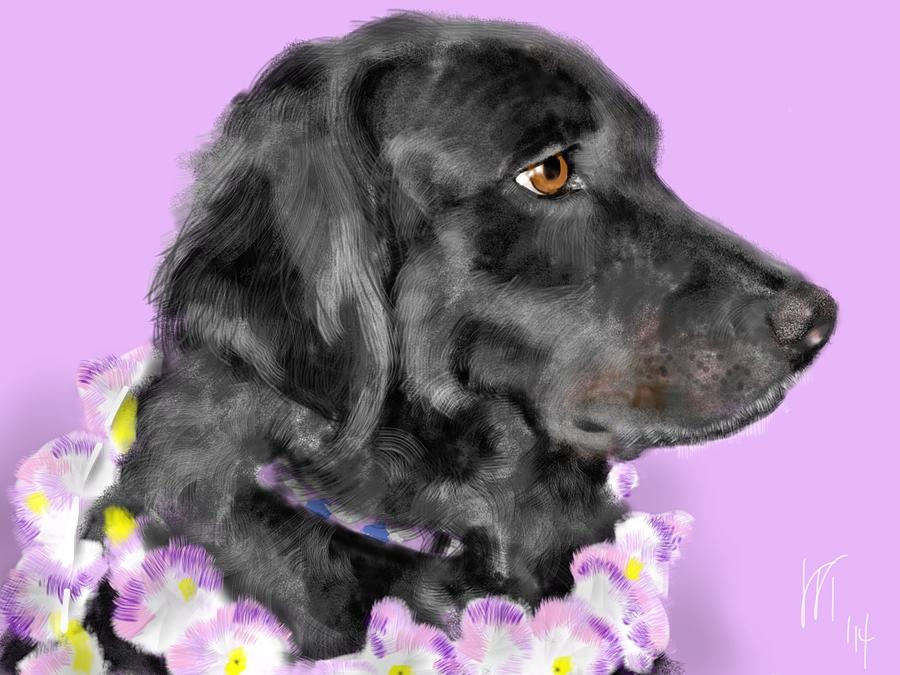 Black Dog Painting - Black Dog Pretty In Lavender by Lois Ivancin Tavaf