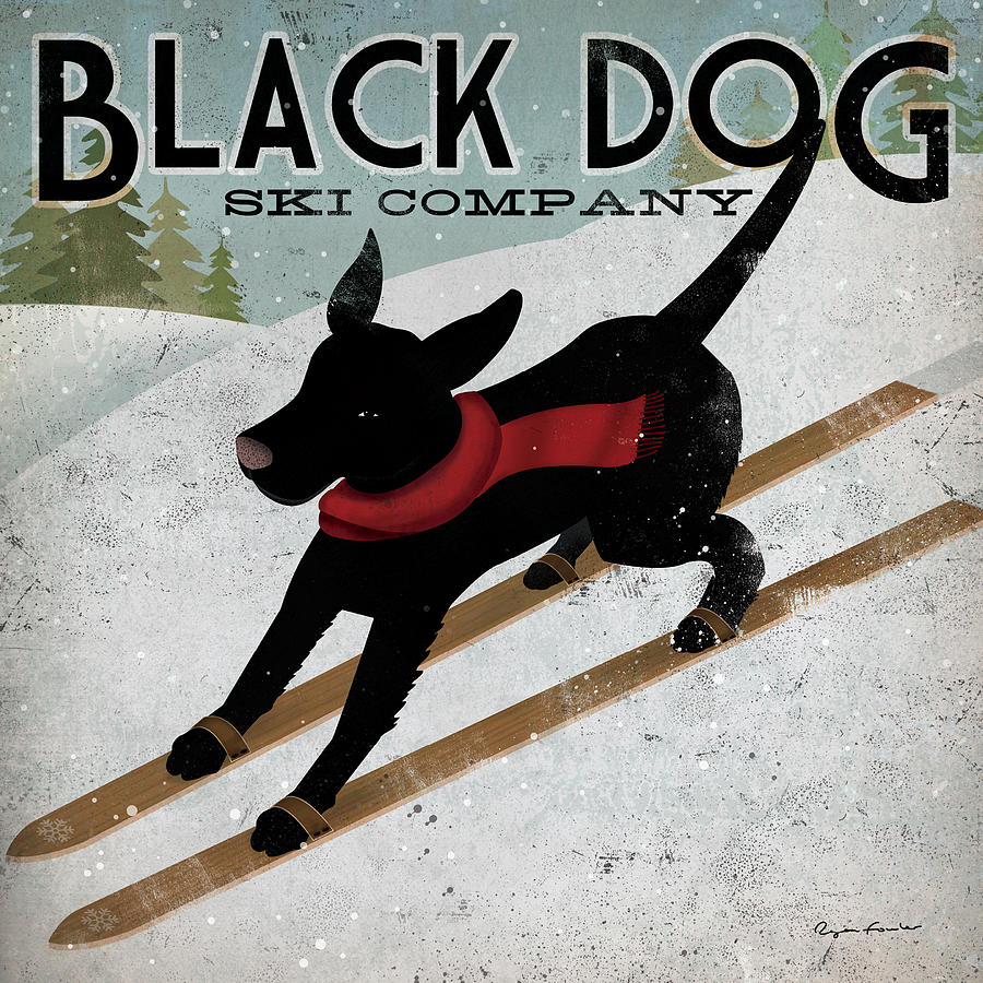 Animal Painting - Black Dog Ski by Ryan Fowler