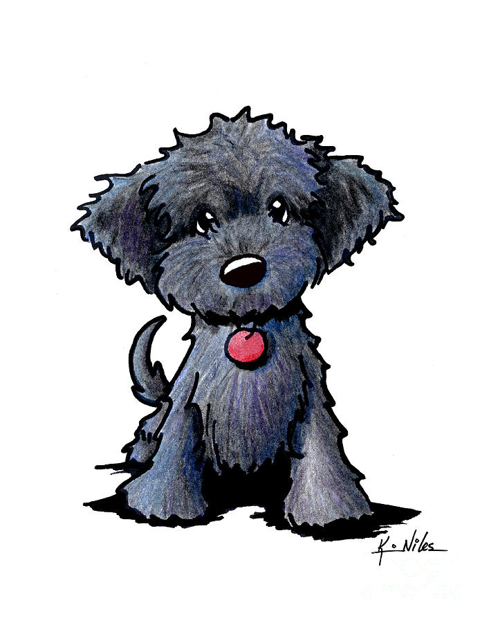 Black Doodle Puppy Drawing By Kim Niles