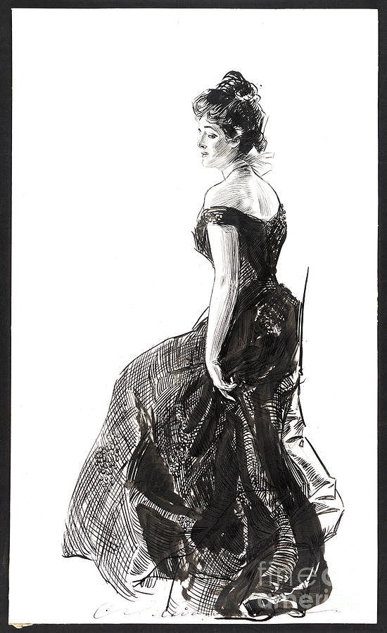 Vintage Illustrations Photograph - Black Evening Dress 1901 by Padre Art