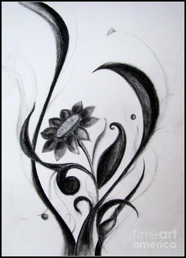 Artistic drawing black flowers abstract charcoal art by prajakta p