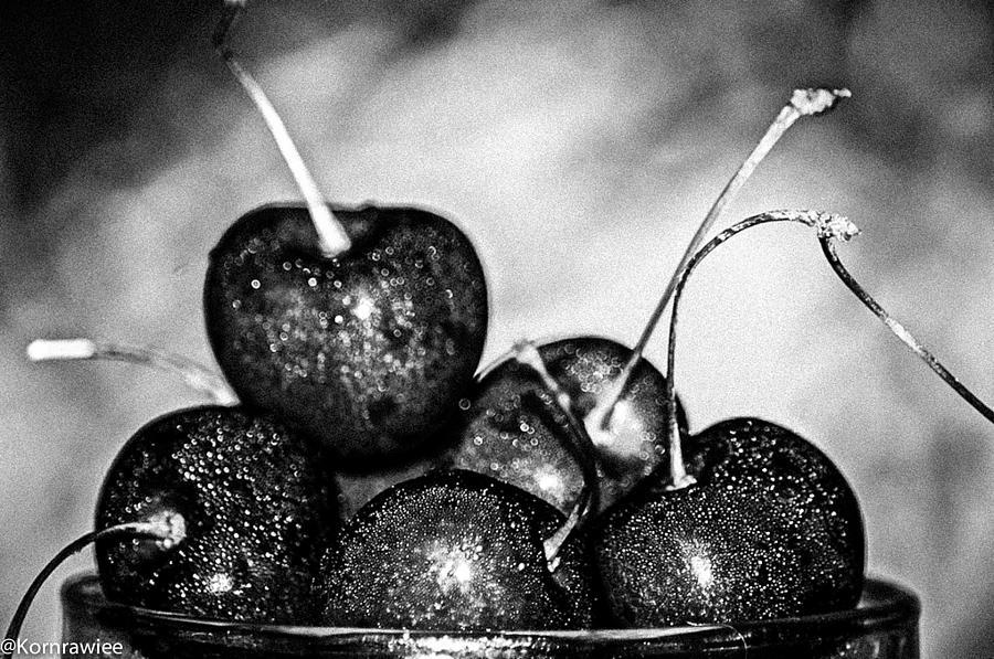 Cherry Photograph - Black Fruits by Kornrawiee Miu Miu