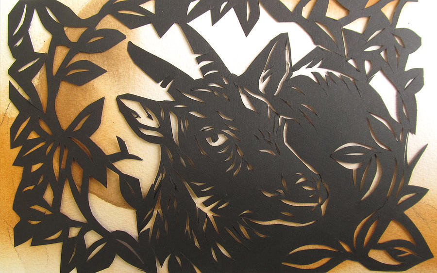 Paper Cut Mixed Media - Black Goat Cut Out by Alfred Ng