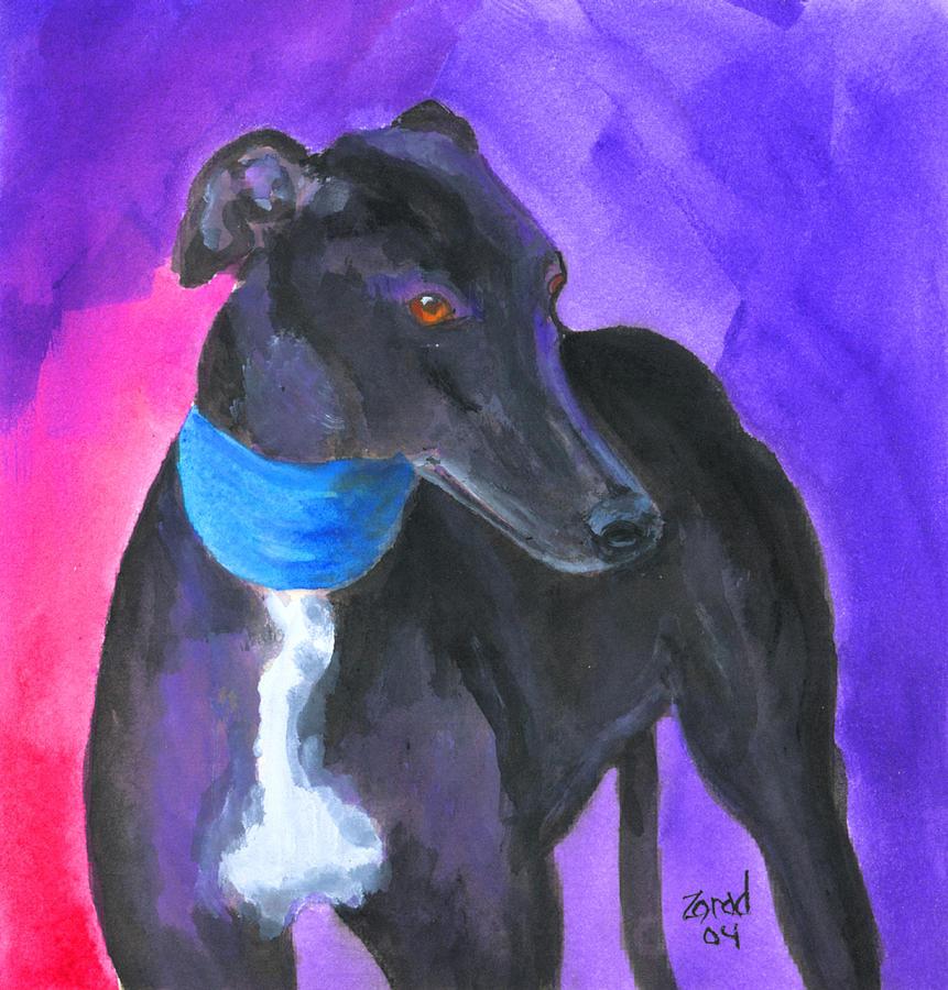 Black Greyhound Watercolor by Mary Jo Zorad