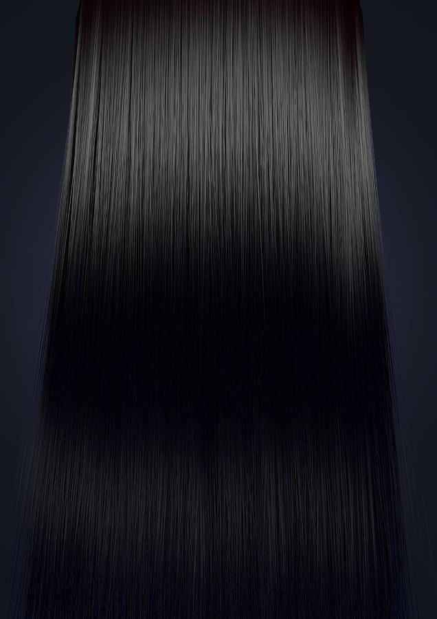 Blonde Digital Art - Black Hair Perfect Straight by Allan Swart