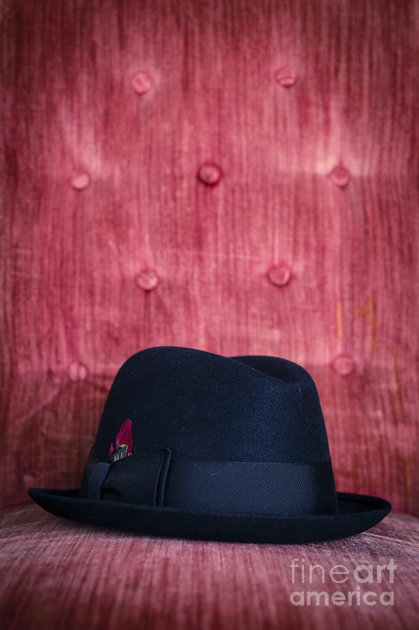 Studio Photograph - Black Hat On Red Velvet Chair by Edward Fielding