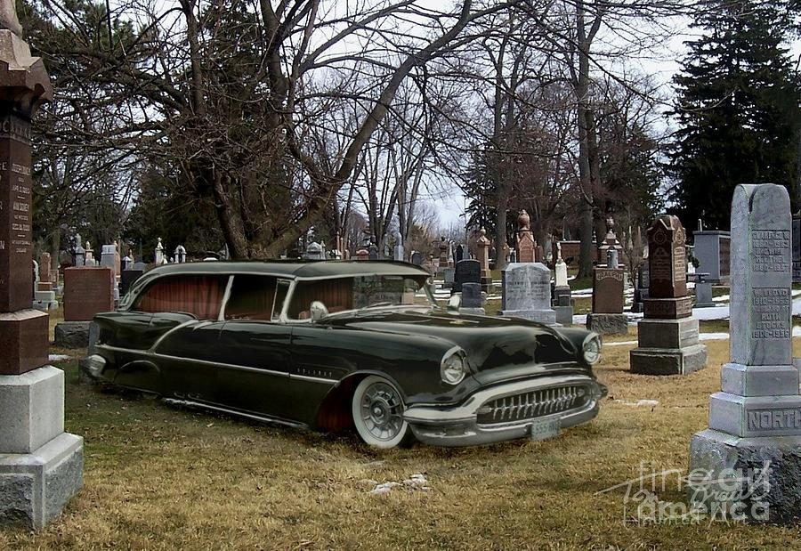 Hearse Photograph - Black Hearse by Tom Straub