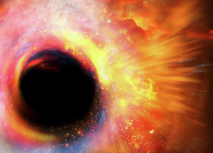 Black Hole Formation, Artwork Digital Art by Victor Habbick Visions