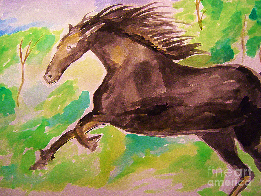 Animals Painting - Black Horse by Sidney Holmes