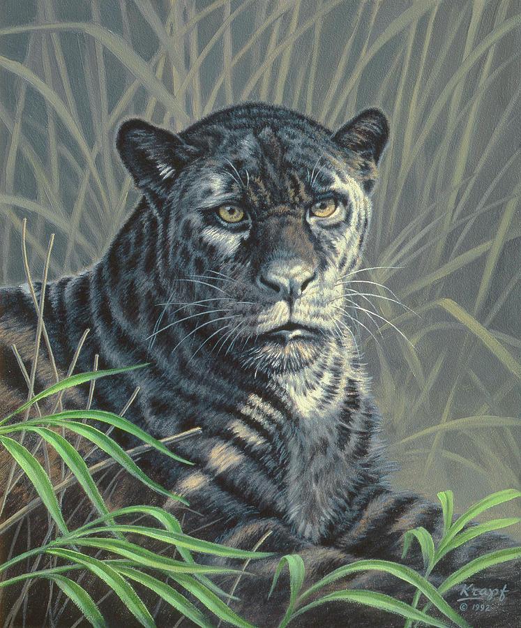 Wildlife Painting - Black Jaguar by Paul Krapf