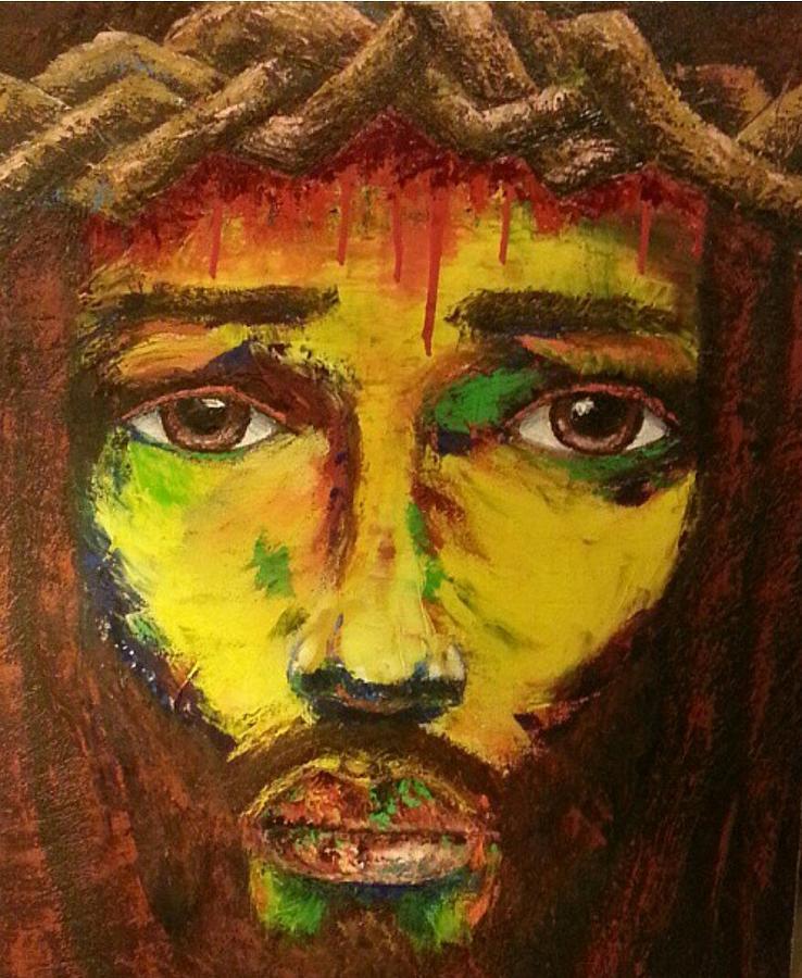 Black Jesus Wall Art: Black Jesus Painting By Marcus Arceneaux