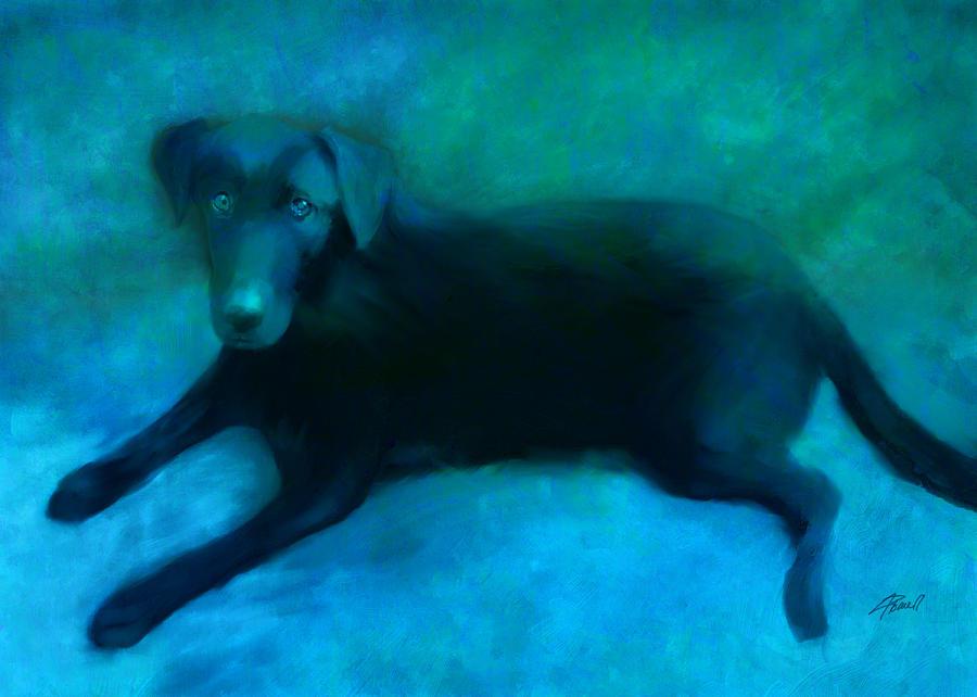 Dog Digital Art - Black Lab by Ann Powell
