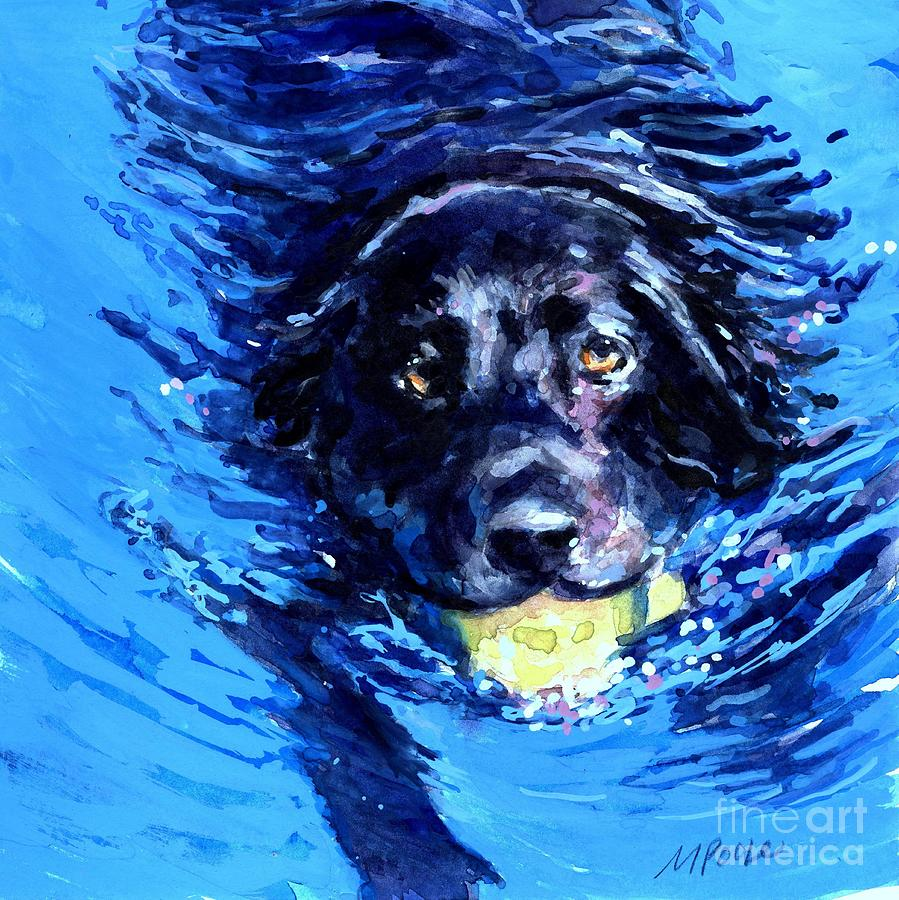 Black Lab Painting - Black Lab  Blue Wake by Molly Poole
