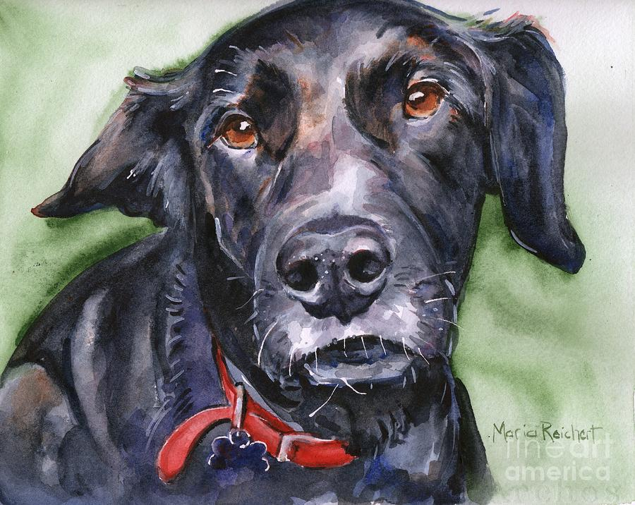 Black Lab Painting - Black Lab in watercolor by Maria Reichert