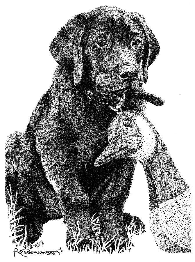 Black Lab Drawing - Black Lab Puppy by Rob Christensen