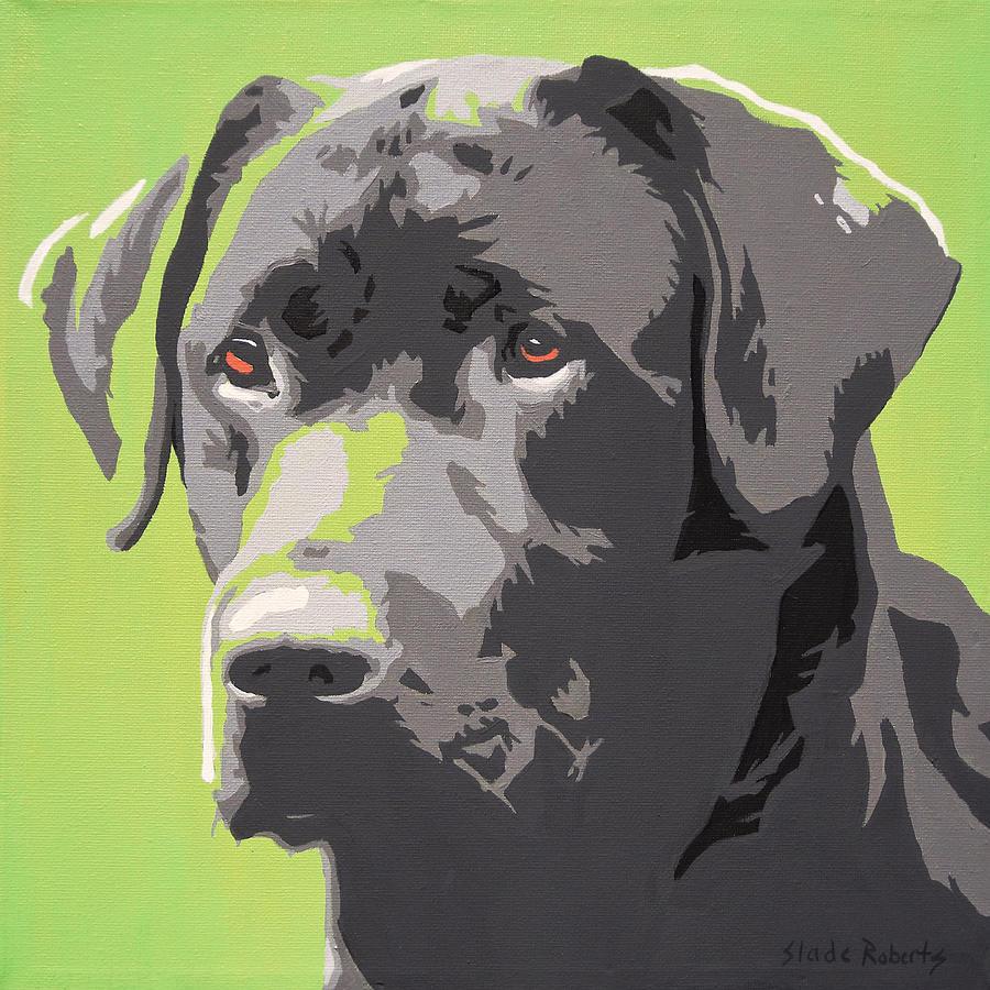 Pet Portrait Painting - Black Lab by Slade Roberts