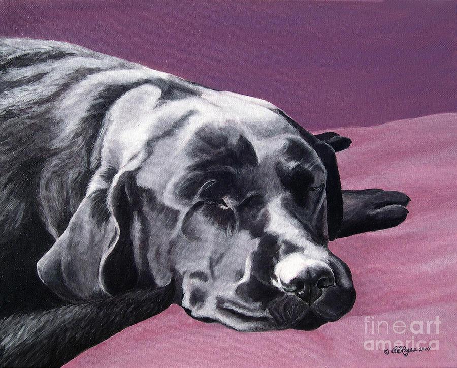 Black Labrador Beauty Sleep by Amy Reges
