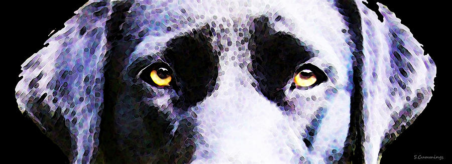 Black Labrador Retriever Dog Art Lab Eyes Painting By