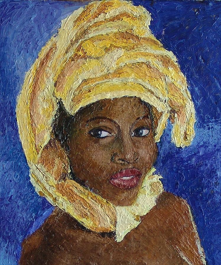 Acrylic Mixed Media - Black Lady No. 6 by Janet Ashworth