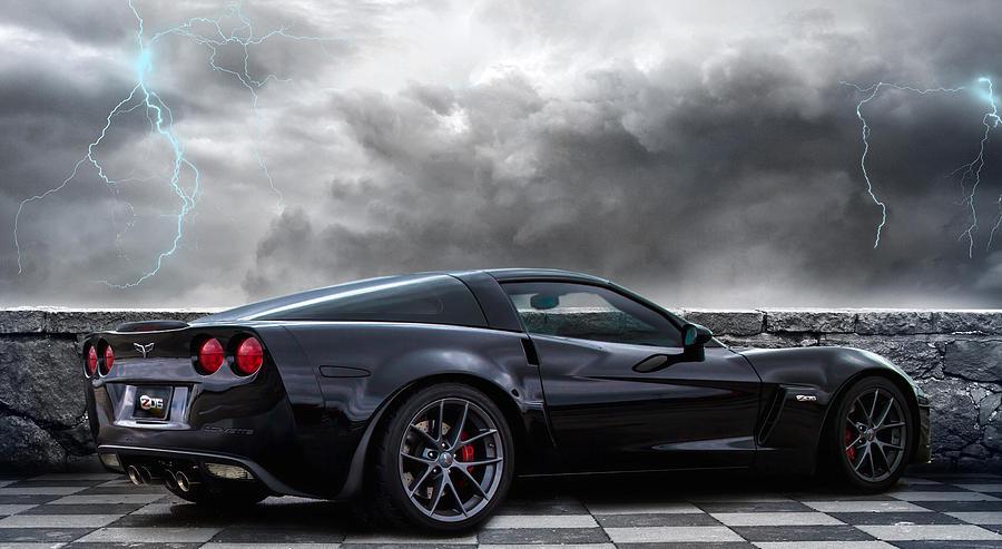 Corvette Digital Art - Black Lightning by Peter Chilelli